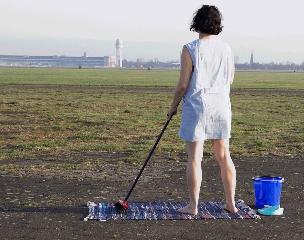 (Photo courtesy of Michelle Standley) Performance artist Michelle Standley during the first performance of her work 4.5 Hours, on the grounds of Berlin's Tempelhof Airport on April 1, 2017. Standley will perform 4.5 Hours again on Oct. 6, 2019, on the south edge of Salt Lake City's Temple Square.