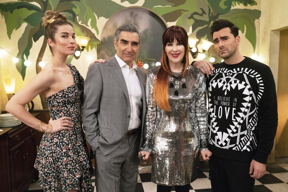 (Pop TV via AP) Annie Murphy, left, Eugene Levy, Catherine O'Hara and Dan Levy from the series