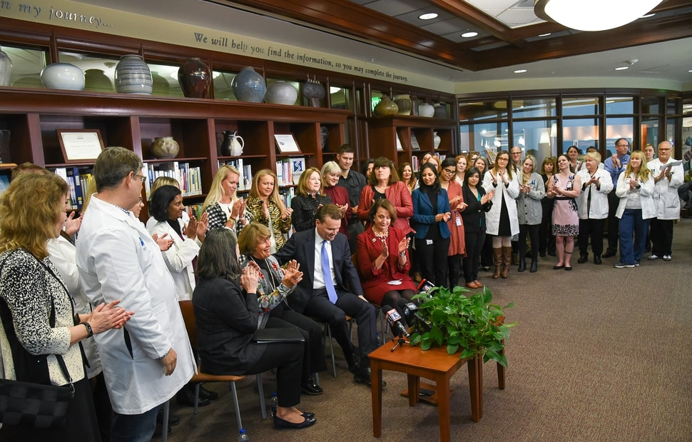 (Francisco Kjolseth | The Salt Lake Tribune) Clinicians, researchers and staff gather in the library of the Huntsman Cancer Institute to hear the announcement of a $30 million gift to the Huntsman Cancer Institute on Friday, Jan. 11, 2019.