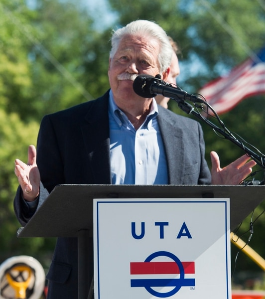 (Rick Egan | The Salt Lake Tribune) Senator Gene Davis says a few words as South Salt Lake and other dignitaries met together to break ground on construction of UTA's S-Line double track project, on 300 East and 2233 South, Monday, June 11, 2018.