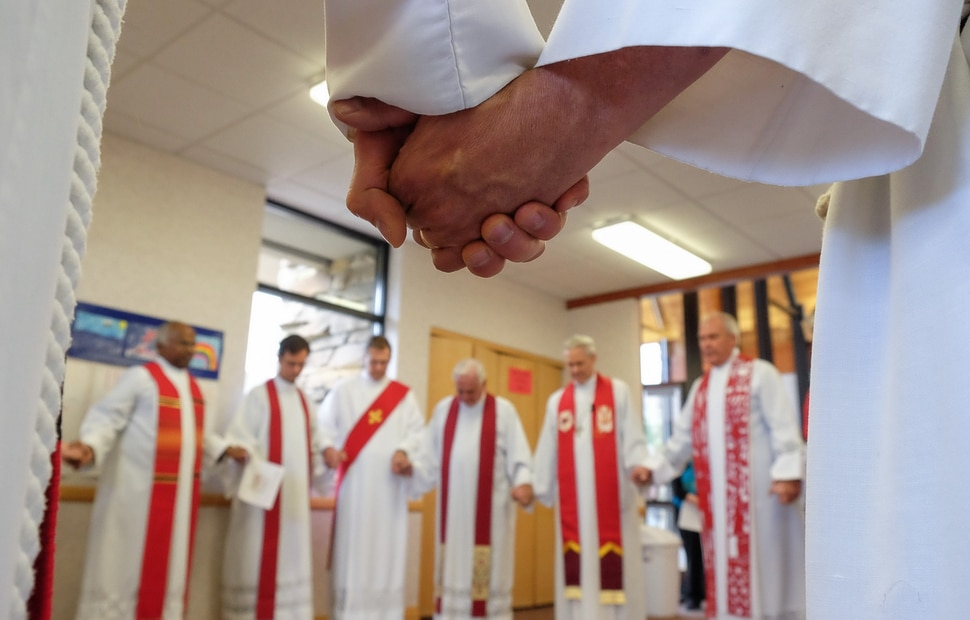 (Francisco Kjolseth | The Salt Lake Tribune) Lutheran and Catholic priests gather at Zion Evangelical Lutheran Church in Salt Lake City for an ecumenical prayer service.