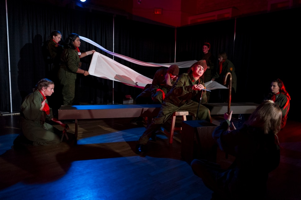 (Alex Gallivan | Special to the Tribune) Students from the The Egyptian YouTheatre program perform for the Great Salt Lake Fringe production of The Night Witches on Sunday, Aug. 4, 2019 at The Gateway. The Night Witches were the first women to fly in combat and flew for the Soviet Union during the Second World War.