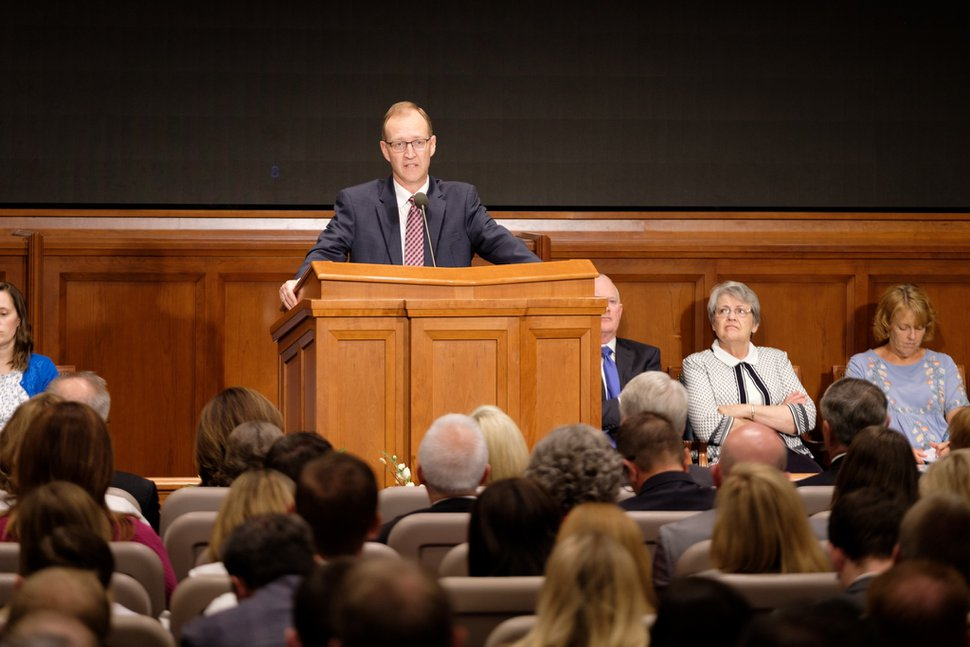 (Photo courtesy of The Church of Jesus Christ of Latter-day Saints) Chad Webb, administrator of seminaries and institutes, urges teachers, during the annual educators training, June 12, 2019, to emulate the example of Jesus Christ in the classroom and avoid condemning or belittling students who are looking for answers on complicated issues.