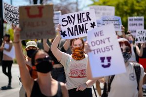 (Trent Nelson  |  The Salt Lake Tribune) Protesters march at the University of Utah in Salt Lake City on Thursday, Sept. 3, 2020. The protest called  for President Ruth Watkins to resign and for the campus police department to be dissolved..