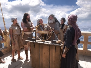 (The Church of Jesus Christ of Latter-day Saints) This scene from a Book of Mormon video depicts Lehi, his wife, Sariah, and their family as they sail to the promised land on the ship built by Nephi (Lehi's son) and his brothers (Laman, Lemuel and Sam). The split that occurs in Lehi's family is at the root of most the book's narrative and has led to difficulties for Native American Latter-day Saints as they try to navigate their tribal heritage and their faith.