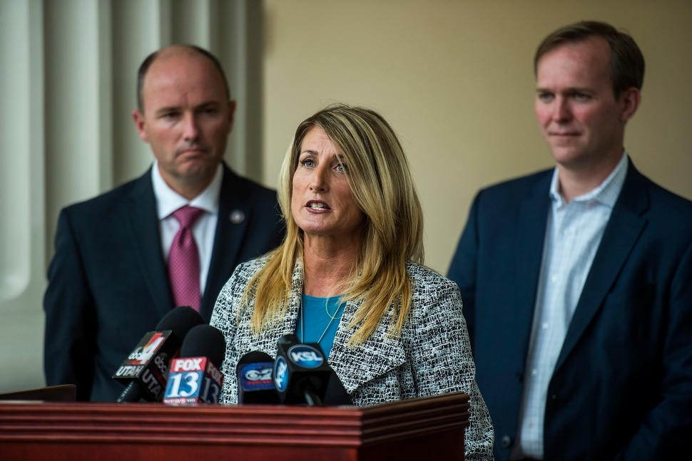 (Chris Detrick | The Salt Lake Tribune) ​Drug​ ​Court Peer​ ​Mentor​ ​Leighann​ ​Marsh speaks during a press conference at Matheson Courthouse Wednesday, September 13, 2017.