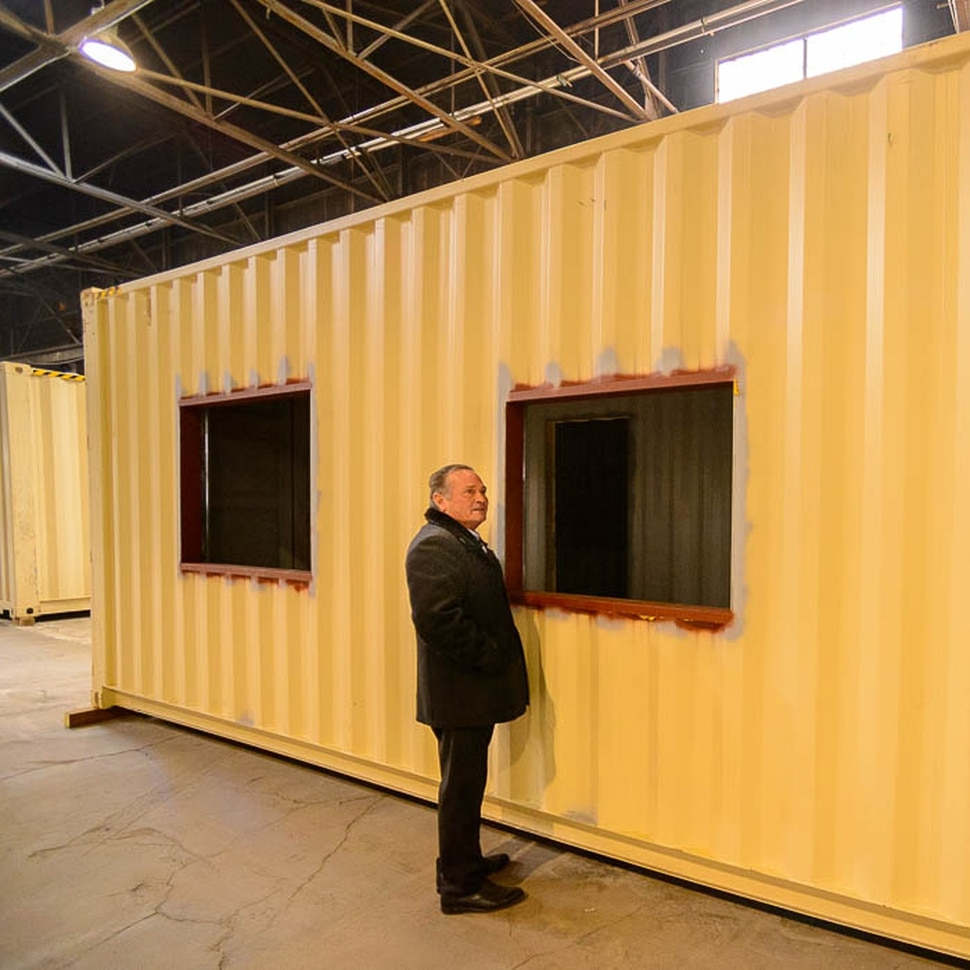 (Trent Nelson | The Salt Lake Tribune) Eco Box Fabricators, based in Salt Lake City, hopes to make viable affordable housing out of discarded shipping containers. Tuesday Jan. 15, 2019. Rod Newman in the factory.