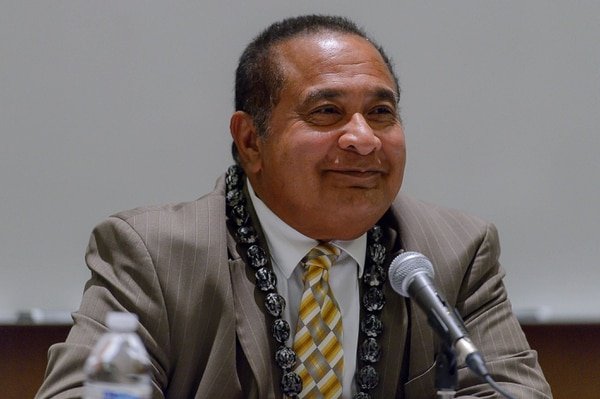 (Trent Nelson | The Salt Lake Tribune) Matani Umu Manatau at the Salt Lake County Sheriff Candidates Forum in Sandy, Thursday August 3, 2017. Six candidates are seeking the nomination for sheriff, a job vacated by Jim Winder, who is now the police chief in Moab.