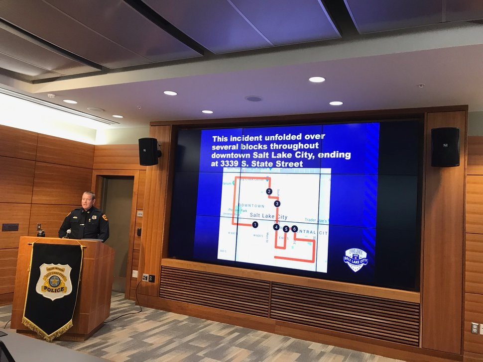 (Nate Carlisle | Tribune file photo) Salt Lake City police Capt. Jeff Kendrick addresses reporters April 19, 2019, at the city's public safety building and describes the April 8 chase and shooting of Harold V. Robinson, Jr.