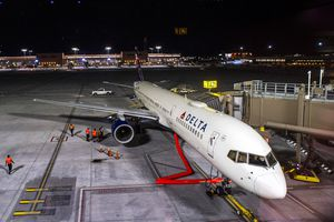 (Rick Egan  |  The Salt Lake Tribune)     Delta Flight 2020, is the first flight out of the new terminal at the Salt Lake City International Airport on Tuesday, Sept. 15, 2020. The Utah Jazz's departing Delta charter flight struck a flock of birds on Tuesday, necessitating a return to the airport — and several minutes of terror for Jazz coaches, staff and players.