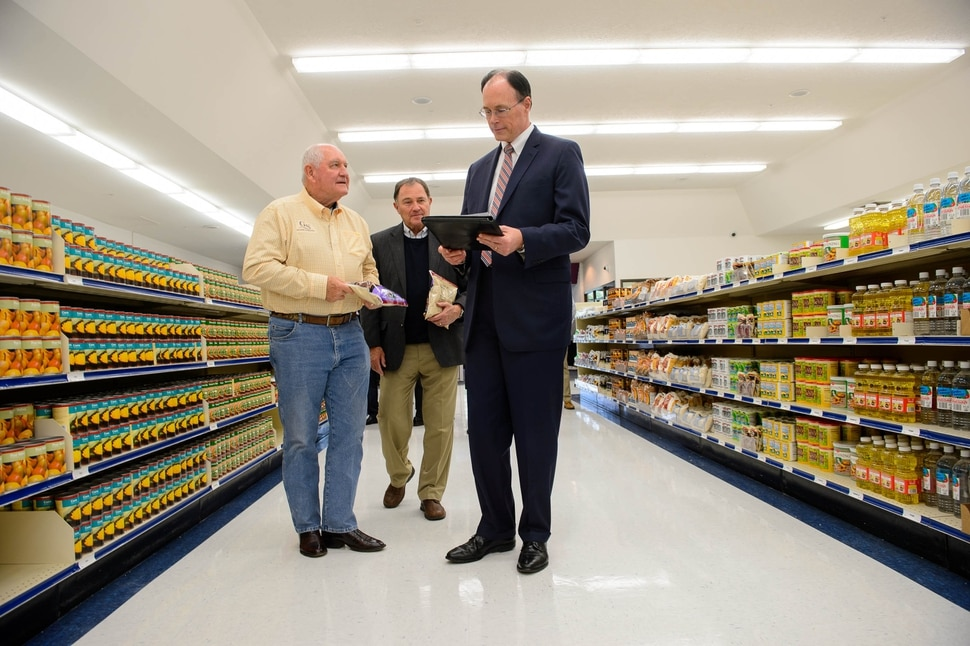 (Trent Nelson | The Salt Lake Tribune) Agriculture Secretary Sonny Perdue, Gov. Gary Herbert, and Bishop W. Christopher Waddell on a tour of Welfare Square in Salt Lake City on Wednesday May 22, 2019.