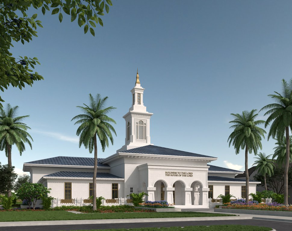 (Rendering courtesy of The Church of Jesus Christ of Latter-day Saints) Rendering of the Pago Pago American Samoa Temple.