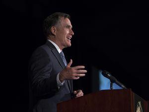 Scott Sommerdorf | The Salt Lake TribuneFormer Republican presidential candidate Mitt Romney speaks at the 2018 Utah County Republican Party Lincoln Day Dinner.