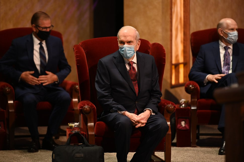 (Photo courtesy of The Church of Jesus Christ of Latter-day Saints) President Nelson waits for the broadcast to start at the Conference Center Theater on Temple Square, Oct. 3, 2020.