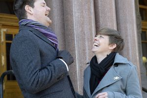 (Al Hartmann     The Salt Lake Tribune) Newly elected City Council Members Chris Wharton, left, and Amy N. Fowler enjoy a laugh after taking the oath of office in ceremony outside the City-County Building Tuesday Jan. 2.