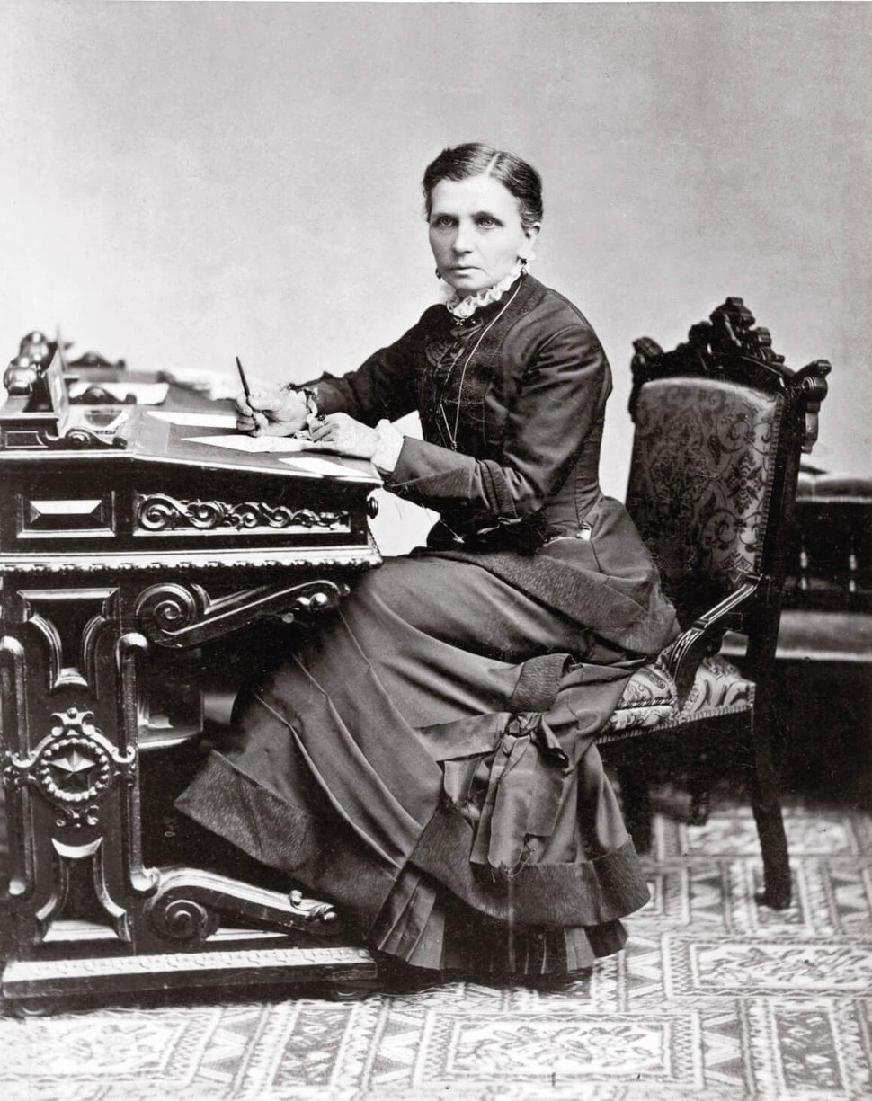 "(Photo courtesy of the Church History Library) Emmeline B. Wells traveled to Washington, D.C., in January 1879 to attend the annual convention of the National Woman Suffrage Association. In her diary entry of Jan. 14, Wells noted, ""This morn. went to Photo-gallery had pictures taken."" The photograph was taken at the Charles M. Bell studio in Washington."