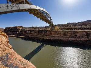 (Francisco Kjolseth  | Tribune file photo) Hite Crossing Bridge stretches over the Colorado River as it flows into Lake Powell near Hite Marina on Thursday, Feb. 4, 2021. The Ute Indian Tribe worries that the newly proposed Colorado River Authority of Utah could deprive the tribe of its rights to the river's water.