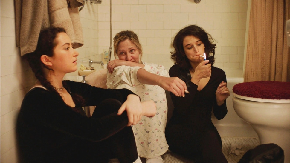 This image released by the Sundance Institute shows, from left, Abby Quinn, Edie Falco and Jenny Slate appear in a scene from Landline, a film by Gillian Robespierre. The film is an official selection of the U.S. Dramatic Competition at the 2017 Sundance Film Festival. (Chris Teague/Sundance Institute via AP)