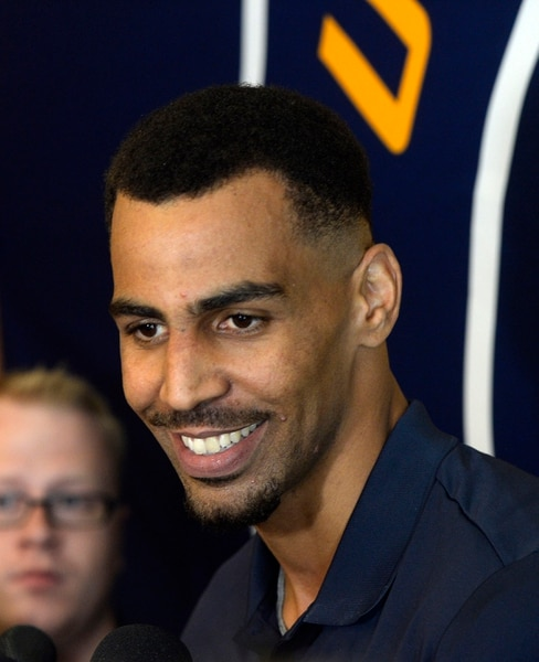 Al Hartmann   The Salt Lake Tribune Thabo Sefolosha, just signed by the Jazz meets the media for the first time in Salt Lake City Tuesday July 18.