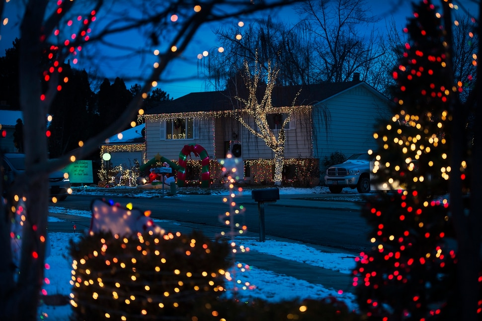 (Scott Sommerdorf | The Salt Lake Tribune) A view of some of the houses on Royalwood Drive in Taylorsville, Friday, December 22, 2017. Christmas Street is a Taylorsville neighborhood where residents up and down the street decorate their homes every year with Christmas lights. The United States uses more electricity for Christmas lights than some countries use all year.