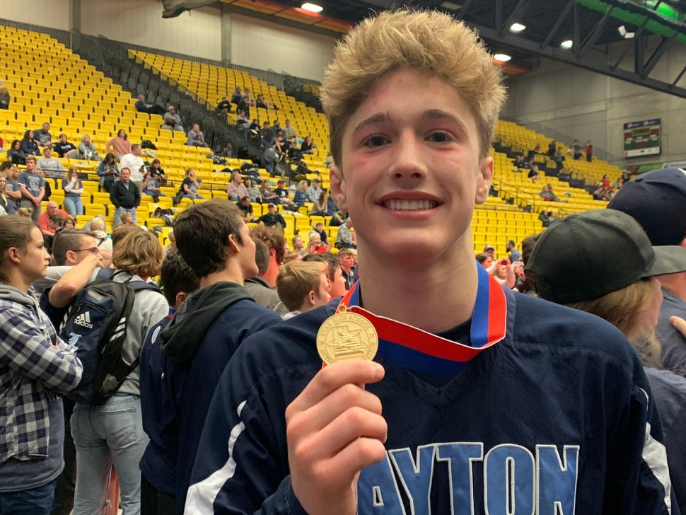 (Alex Vejar | The Salt Lake Tribune) Layton High senior Terrell Baraclough holds his medal after winning his fourth consecutive 6A state wrestling championship on Thursday, Feb 14, 2019 at the UCCU Center of Utah Valley University.