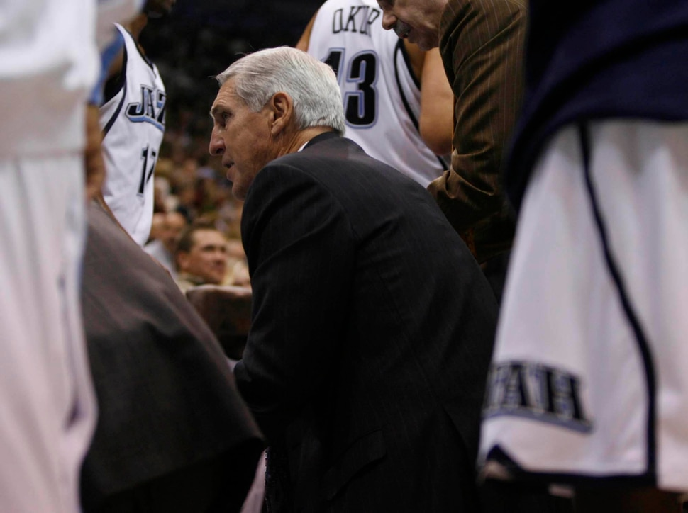 (Trent Nelson | Tribune file photo) Jerry Sloan talks to his team during his 1,000th game as coach of the Jazz on Nov. 7, 2008.