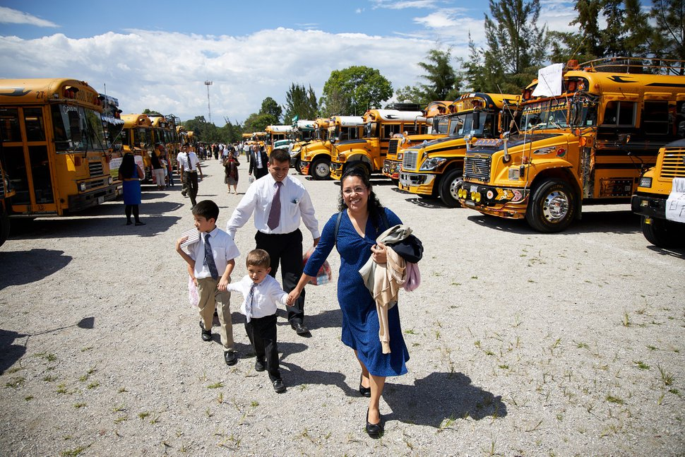 (Photo courtesy of The Church of Jesus Christ of Latter-day Saints) Latter-day Saints arrive to hear President Russell M. Nelson speak at the Estadio Cementos Progreso, an outdoor stadium in Guatemala City, on Aug. 24, 2019.
