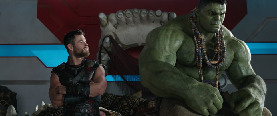 (Courtesy Marvel Studios / Disney) Thor (Chris Hemsworth, left) talks with the Hulk (Mark Ruffalo, in a scene from Marvel's