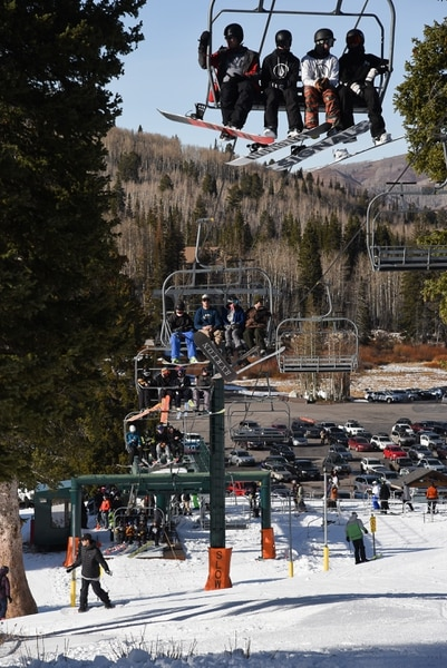 (Francisco Kjolseth | The Salt Lake Tribune) Brighton Resort is the first in the state to kick off the winter season as skiers and snowboarders take to the slopes with two lifts open, Thursday, Nov. 15, 2018.