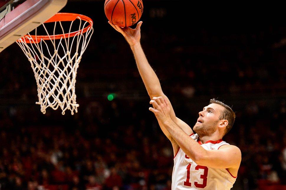 Trent Nelson | The Salt Lake Tribune Utah Utes forward David Collette (13) puts in a basket as the University of Utah hosts Oregon State, NCAA basketball at the Huntsman Center in Salt Lake City, Saturday January 28, 2017.