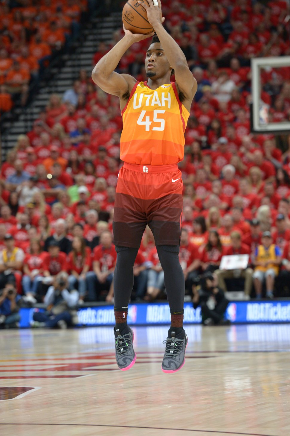 (Leah Hogsten | The Salt Lake Tribune) Utah Jazz guard Donovan Mitchell (45) was held to 2 points in the first half as the Utah Jazz take on the Houston Rockets in Game 3 of an NBA basketball second-round playoff series Friday, May 4, 2018 in Salt Lake City.