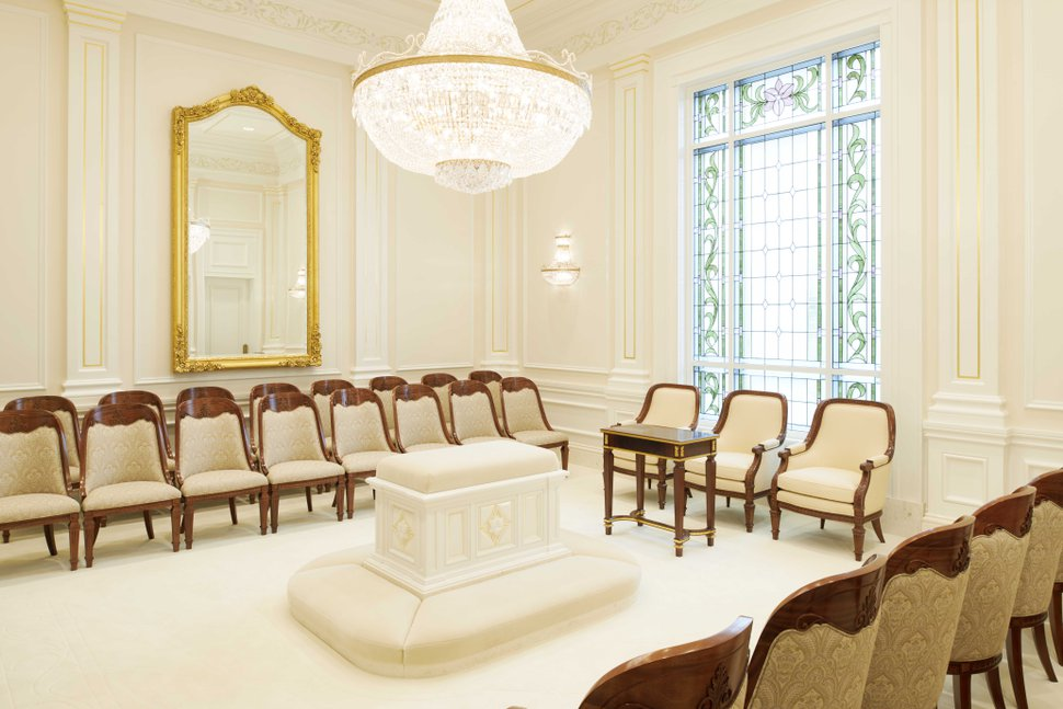 (Photo courtesy of The Church of Jesus Christ of Latter-day Saints) A sealing room in the Fortaleza Brazil Temple.