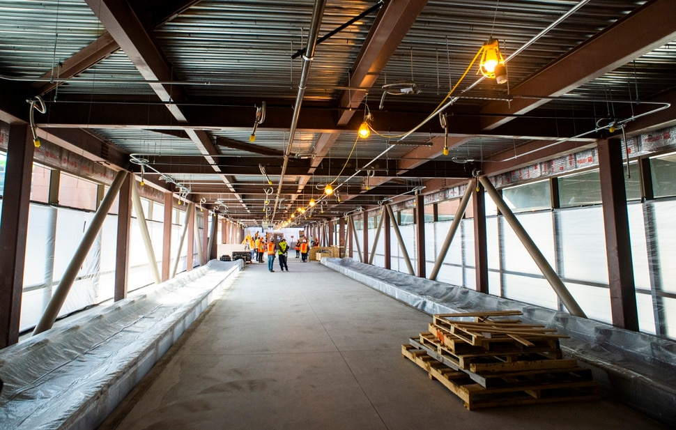 (Rick Egan | The Salt Lake Tribune) The walkway to the parking garage in the new airport, that will be open In less than a year. Monday, Sept. 23, 2019.