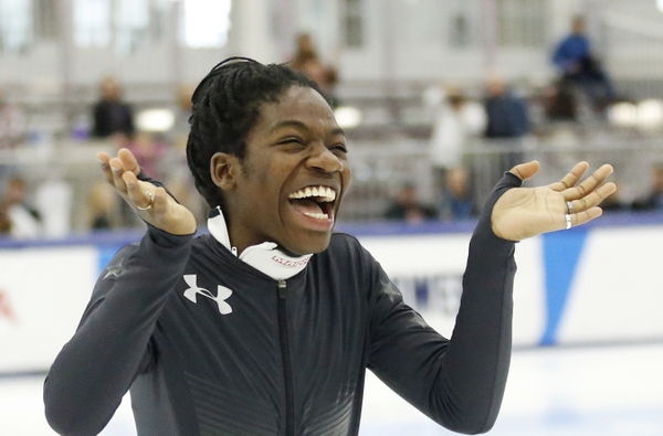 Maame Biney reacts during a medal ceremony after winning women's 500-meter A final race during the U.S. Olympic short track speedskating trials Saturday, Dec. 16, 2017, in Kearns, Utah. (AP Photo/Rick Bowmer)