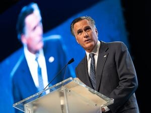 (Francisco Kjolseth | The Salt Lake Tribune) Sen. Mitt Romney faces a hostile crowd during the Utah Republican Party's 2021 Organizing Convention at the Maverik Center in West Valley City on Saturday, May 1, 2021, where he was booed by Republican delegates numbering more than 1,900.