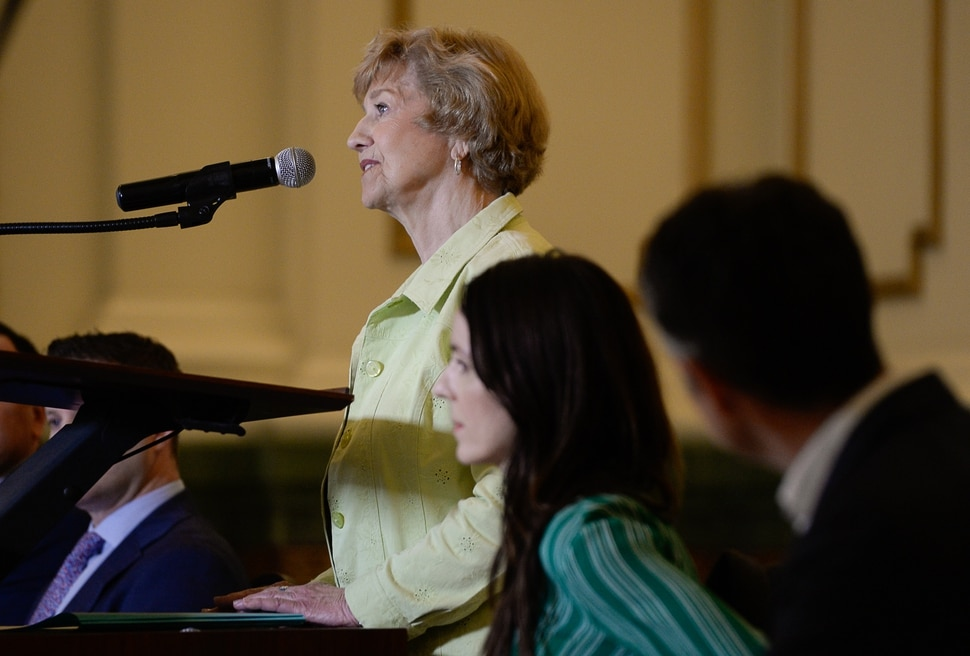 (Francisco Kjolseth | The Salt Lake Tribune) Peggy Hostetter, a long time resident at The Gateway relays her experiences with a dramatic change for the better in her area as community leaders gather at the Grand Hall at The Gateway on Tuesday, April 2, 2019, to share details on the efforts and resulting impact the security measures have had on the district.