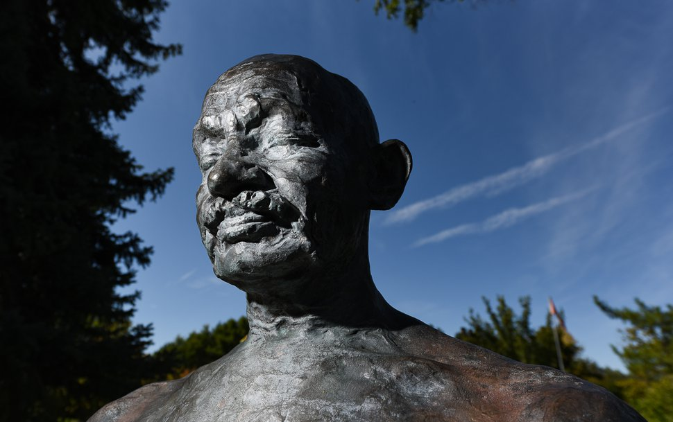 (Francisco Kjolseth | The Salt Lake Tribune) Utahns are celebrating Gandhi's 150th birthday next week as we look at what he means for peacemakers everywhere, but especially in Utah. The International Peace Gardens features a bust of him and the YWCA has a life-size statue at 344 E. 300 South in Salt Lake City.