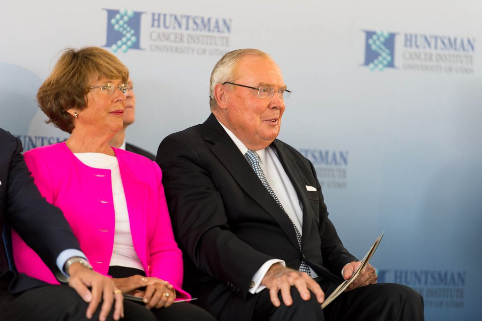 (Trent Nelson | Tribune file photo) Karen and Jon Huntsman, Sr, listen to speakers as the Huntsman Cancer Institute breaks ground on a new wing in Salt Lake City in 2014.