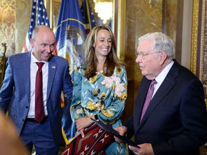 (Chris Samuels   The Salt Lake Tribune) M. Russell Ballard, right, acting president of the Quorum of the Twelve Apostles for The Church of Jesus Christ of Latter-day Saints, is honored at the Capitol, Thursday, July 22, 2021. Gov. Spencer Cox declared M. Russell Ballard Day in Utah.