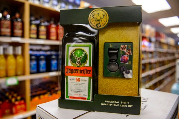 (Steve Griffin | The Salt Lake Tribune) The Jagermeister with a photo lens gift set at the Utah State Liquor Store in West Valley City.