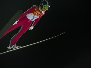 (Chris Detrick     Tribune file photo) Park City's Sarah Hendrickson competes in the women's ski jumping competition at the Gorki Ski Jumping Center during the 2014 Sochi Olympic Games Tuesday February 11, 2014. Hendrickson, officially the first woman to compete in the event in the Olympics, finished in 21st place with a 217.6.
