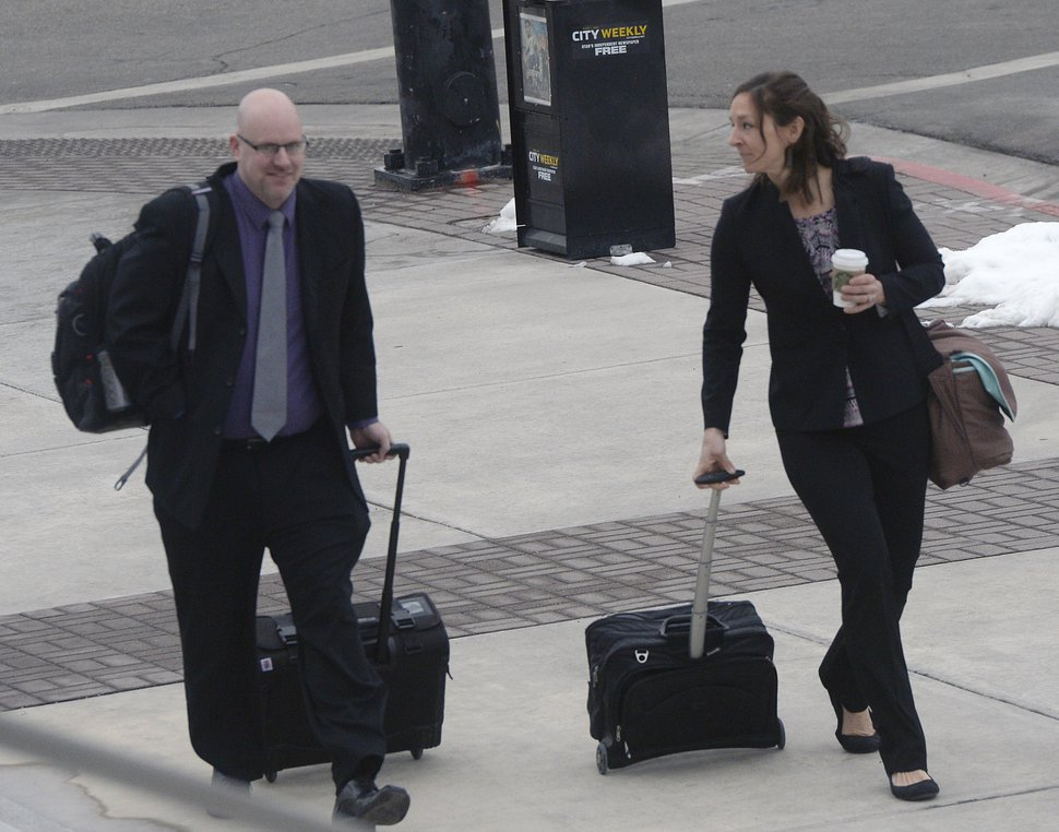 (Al Hartmann | The Salt Lake Tribune) Kevin Hunt, U.S. Department of Labor, Wage and Hour Division, left, and Karen Bobela, attorney for U.S. Department of Labor, walk to federal court in Salt Lake City, Tuesday, Feb. 27 2018. Paragon Contractors is accused of using FLDS child labor under the corporate name of Par 2.