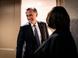 (Erin Schaff | The New York Times) Sen. Mitt Romney, R-Utah, departs a meeting of a bipartisan group of senators, trying to work out an infrastructure bill that can pass the Senate in Washington on Tuesday, June 22, 2021.