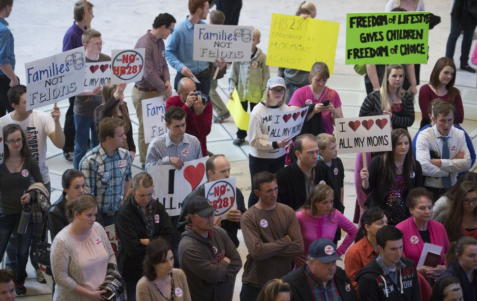 (Steve Griffin | Tribune file photo) People attend a protest against H.B. 281 on March 7, 2016. The bill would have made polygamy a felony in Utah again. Members of the plural marriage community rallied against the bill in the Capitol rotunda. While that bill failed, a similar version passed the next year.