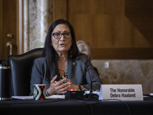 (Graeme Jennings/Pool via AP) Rep. Deb Haaland, D-N.M., speaks during a Senate Committee on Energy and Natural Resources hearing on her nomination to be Interior Secretary, Tuesday, Feb. 23, 2021 on Capitol Hill in Washington.