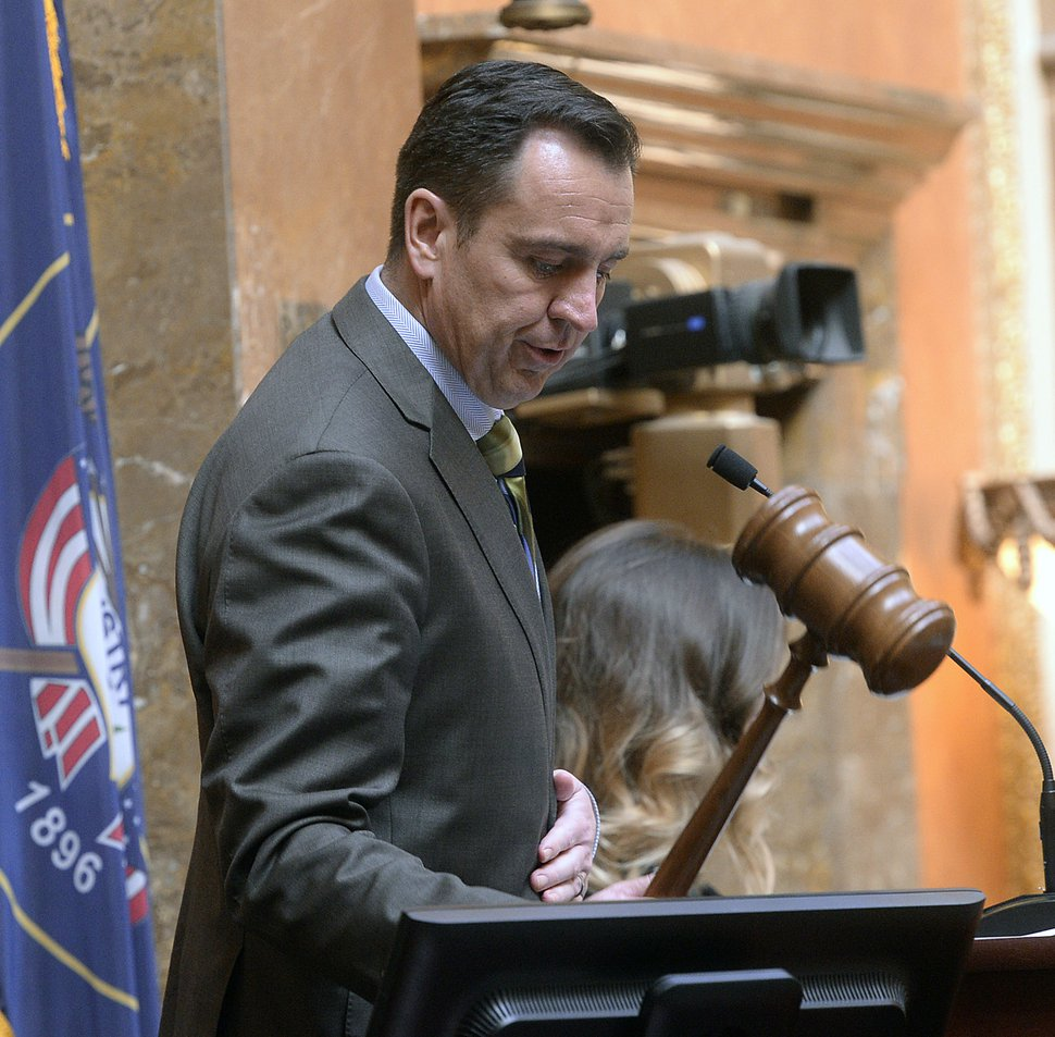 Al Hartmann | The Salt Lake Tribune Speaker of the House Greg Hughes strikes the gavel Monday Jan. 30 to start the second week of the Utah 2017 Legislature.