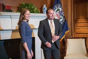 (Photo courtesy of Sen. Mike Lee's office) Supreme Court nominee Amy Coney Barrett meets with Utah Sen. Mike Lee in his office on Tuesday, Sept. 29, 2020.