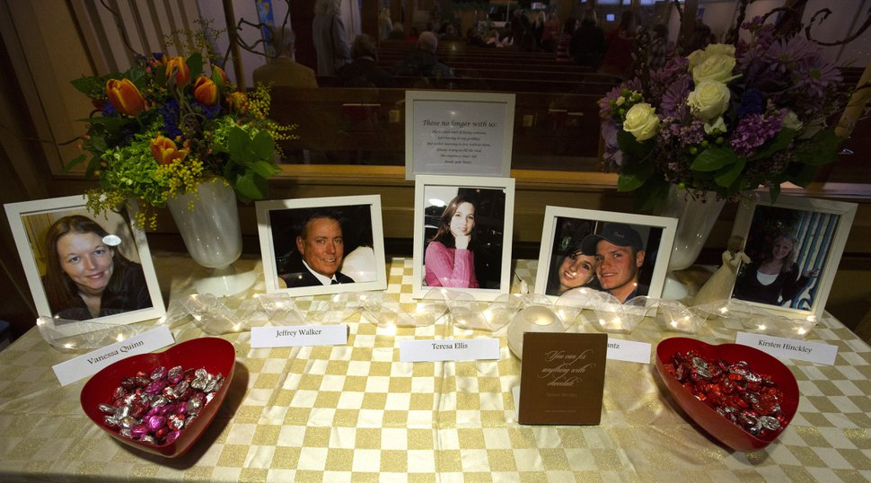 Rick Egan | The Salt Lake Tribune photos of the victims were on display at a vigil to mark the 10th anniversary of theTrolley Square shootings at Zion Evangelical Lutheran Church, Sunday, February 12, 2017.