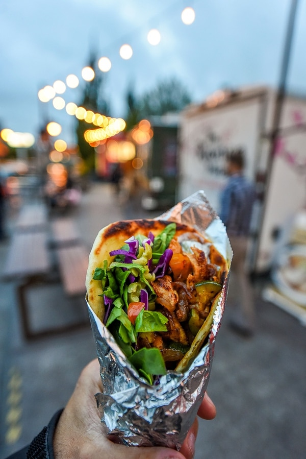 Francisco Kjolseth | The Salt Lake Tribune A flavorful kabob from Komrades food truck, which offers popular European style street food, during a recent visit to the Soho Food Park in Holladay.