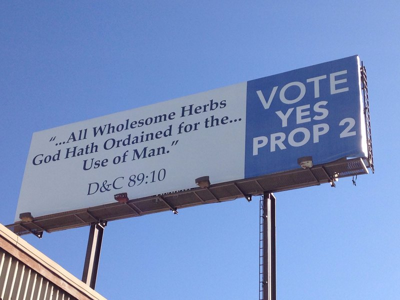 Billboards quoting Mormon scripture to support medical marijuana initiative reappear after temporary removal